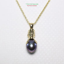 Load image into Gallery viewer, 14k Solid Yellow Gold Hawaiian Tiki Design Black Cultured Pearl Pendant