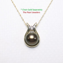 Load image into Gallery viewer, 14k Solid Yellow Gold & Diamond Love Design On Black Cultured Pearl Pendant