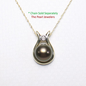 14k Solid Yellow Gold & Diamond Love Design On Black Cultured Pearl Pendant