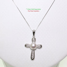 Load image into Gallery viewer, 14k White Gold 6 Sparkling Diamonds Cross Design White Cultured Pearl Pendant