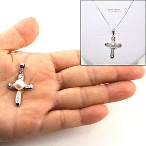 14k White Gold 6 Sparkling Diamonds Cross Design White Cultured Pearl Pendant