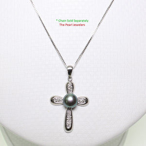 14k White Gold; Diamonds & Black Cultured Pearl Christian Cross Design Pendant