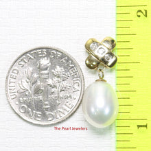 Load image into Gallery viewer, 14k Yellow Gold X Bail Set with Diamonds & Genuine Cultured Pearl Pendant