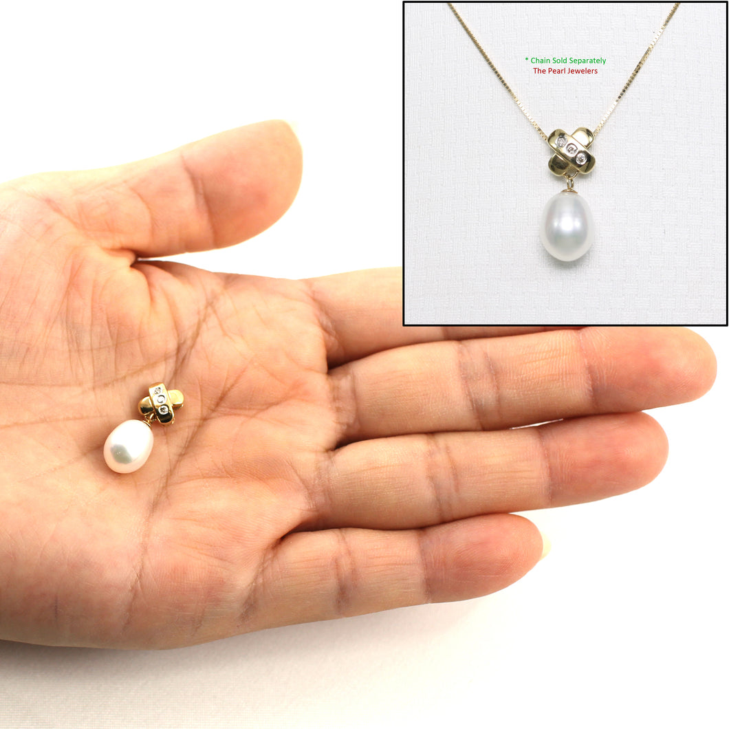 14k Yellow Gold X Bail Set with Diamonds & Genuine Cultured Pearl Pendant