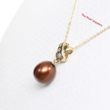 Load image into Gallery viewer, 14k Yellow Gold X Bail Set Diamonds & Chocolate Cultured Pearl Pendant