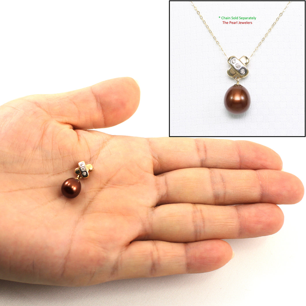 14k Yellow Gold X Bail Set Diamonds & Chocolate Cultured Pearl Pendant