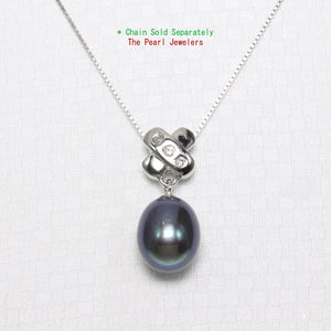 Handcrafted of 14k White Gold; Diamonds, Black Cultured Pearl Unique Pendant
