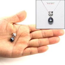 Load image into Gallery viewer, Handcrafted of 14k White Gold; Diamonds, Black Cultured Pearl Unique Pendant