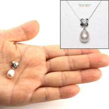 Load image into Gallery viewer, Handcrafted of 14k White Gold; Diamonds & Lavender Cultured Pearl Unique Pendant