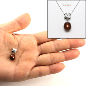 Handcrafted 14k White Gold; Diamond, Chocolate Cultured Pearl Unique Pendant