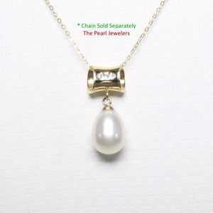 14k Yellow Gold Tunnel Design Bale Diamond & White Cultured Pearl Pendants