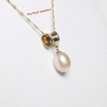 Load image into Gallery viewer, 14k Yellow Gold Tunnel Design Bale Diamond & Pink Cultured Pearl Pendants