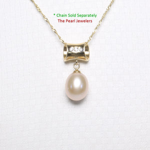 14k Yellow Gold Tunnel Design Bale Diamond & Pink Cultured Pearl Pendants