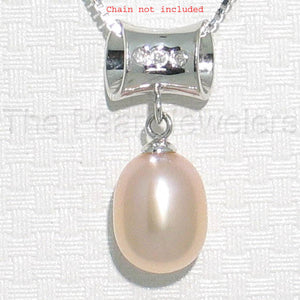 14k White Gold Tunnel Design Bale Diamond & 8mm Pink Cultured Pearl Pendant