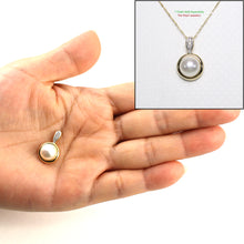 Load image into Gallery viewer, 14k White Gold Tunnel Design Bale Diamond & 8mm Pink Cultured Pearl Pendant