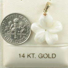 Load image into Gallery viewer, 2000710-14k-Gold-Bale-Hand-Carved-Mother-of-Pearl-Hawaiian-Plumeria-Pendant