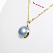 Load image into Gallery viewer, 14k Solid Yellow Gold Bezel Setting a 14mm Blue Mabe Pearl Pendant