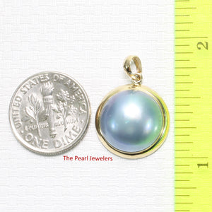 14k Solid Yellow Gold Bezel Setting a 14mm Blue Mabe Pearl Pendant