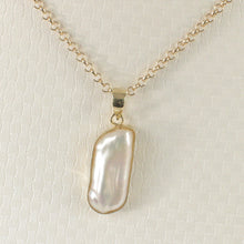 Load image into Gallery viewer, Genuine Baroque White Biwa Pearl Pendant Wrapped with 14k Solid Yellow Gold