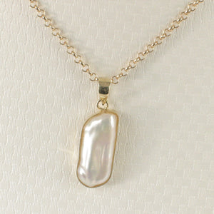Genuine Baroque White Biwa Pearl Pendant Wrapped with 14k Solid Yellow Gold