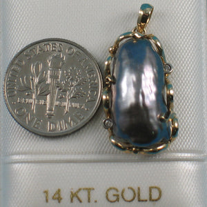 14k Yellow Gold Wraps Around the Black Biwa Pearl Diamonds Pendant