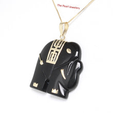 Load image into Gallery viewer, 2100031-14k-Gold-Hand-Carved-Popular-Elephant-Black-Onyx-Pendant-Necklace