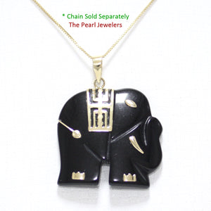 2100031-14k-Gold-Hand-Carved-Popular-Elephant-Black-Onyx-Pendant-Necklace