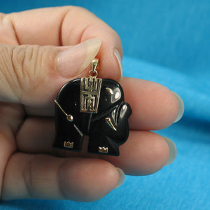 2100031-Hand-Carved-Popular-Elephant-Design-Black-Onyx-14k-Solid-Yellow-Gold-Pendant