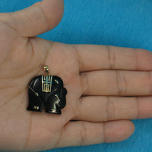 Load image into Gallery viewer, 2100031-Hand-Carved-Popular-Elephant-Design-Black-Onyx-14k-Solid-Yellow-Gold-Pendant