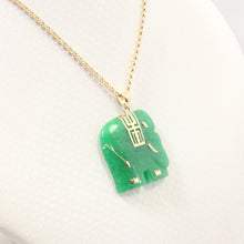 Load image into Gallery viewer, 2100033-14k-Solid-Yellow-Gold-Hand-Carved-Elephant-Green-Jade-Pendant-Necklace