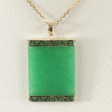 Load image into Gallery viewer, 2100043-Greek-Key-14k-Yellow-Gold-Green-Jade-Board-Pendant-Necklace