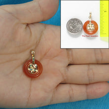 Load image into Gallery viewer, 14k Solid Yellow Gold Hawaiian Plumeria Design 16mm Donut Red Jade Pendant