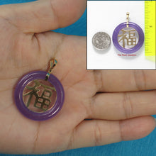 Load image into Gallery viewer, 2100072-14k-Gold-Lavender-Jade-30mm-Good-Luck-Pendant-Necklace