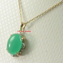 Load image into Gallery viewer, 2100103-14k-Solid-Gold-Diamond-Cabochons-Green-Jade-Pendant-Necklace