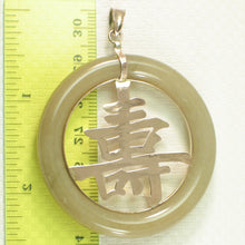 Load image into Gallery viewer, Vintage Longevity 14k Yellow Solid Gold; 50mm Ring Shaped Jadeite Pendant