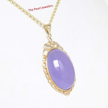 Load image into Gallery viewer, 2100162-Real-14k-Gold-Oval-Cabochon-Lavender-Jade-Pendant-Necklace
