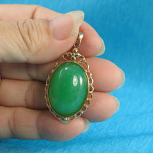 Load image into Gallery viewer, Beautiful Oval Cabochon Green Jade Pendant Crafted with14k Yellow Solid Gold