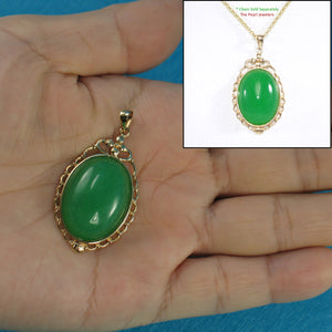 Beautiful Oval Cabochon Green Jade Pendant Crafted with14k Yellow Solid Gold