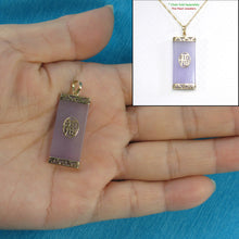 Load image into Gallery viewer, 2100212-14k-Gold-GOOD-FORTUNE-Lavender-Jade-Oriental-Pendant-Necklace