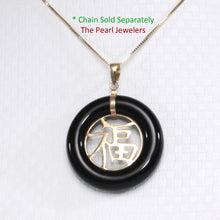 Load image into Gallery viewer, 14k Solid Yellow Gold JOY; Black Onyx Circle Donut Good Luck Charm Pendant