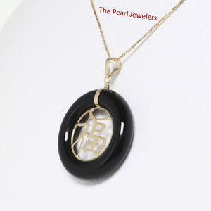 14k Solid Yellow Gold JOY; Black Onyx Circle Donut Good Luck Charm Pendant