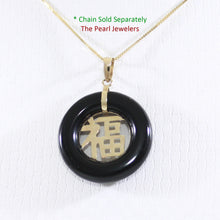 Load image into Gallery viewer, 2100251-Beautiful-Donut-Black-Onyx-GOOD LUCK-14k-Gold-Charm-Necklace