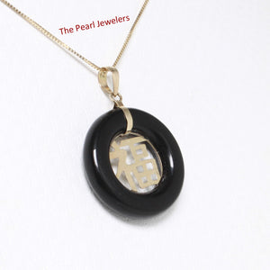 2100251-Beautiful-Donut-Black-Onyx-GOOD LUCK-14k-Gold-Charm-Necklace