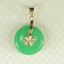 Load image into Gallery viewer, 2100263-14k-Gold-Hawaiian-Plumeria-Green-Jade-Pendant-Necklace