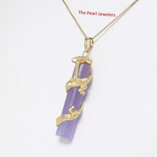Load image into Gallery viewer, 2100272-Lavender-Jade-14k-Gold-Dragon-Totem-Column-Pendant-Necklace