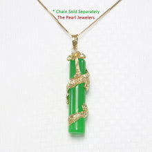 Load image into Gallery viewer, 2100273-Green-Jade-14k-Gold-Dragon-Totem-Column-Pendant-Necklace