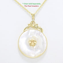 Load image into Gallery viewer, 2100320-14k-Gold-Hawaiian-Plumeria-Flower-Disc-Mother-of-Pearl-Pendant-Necklace