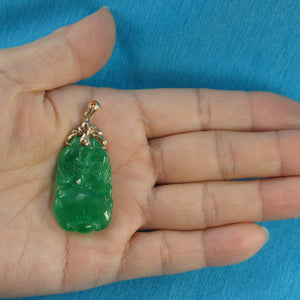 Beautiful Hand Carving on Both Sides Green Jade Pendant 14k Solid Yellow Gold