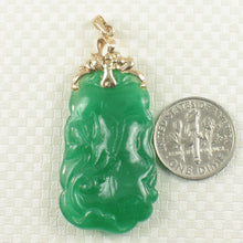 Load image into Gallery viewer, 14k Yellow Gold Beautiful Hand Carving Both Sides Green Jade Pendant Necklace