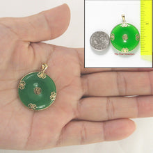 Load image into Gallery viewer, 14k Solid Yellow Gold Joy & Butterflies Design On Disc Shape Green Jade Pendant